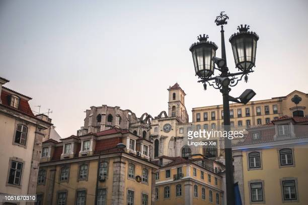 Lisbon cityscape around Rossio Square (Pedro IV Square) at dusk, Lisbon, Portugal