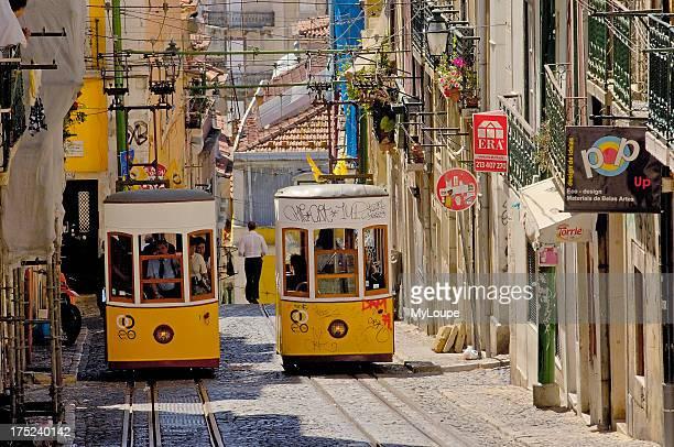 Lisbon, Elevador da Bica , Bairro Alto, Rua da Bica de Duarte Belo, Portugal. Europe