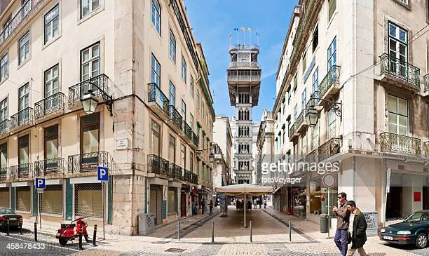 Lissabon Elevador de Santa Justa Baixa Wahrzeichen panorama-Portugal