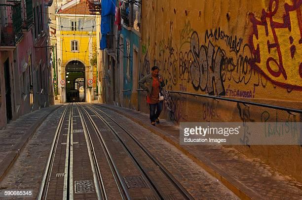 Lisbon, Elevator da Bica, Bica cable car, Bairro Alto, Rua da Bica de Duarte Belo, Portugal, Europe.