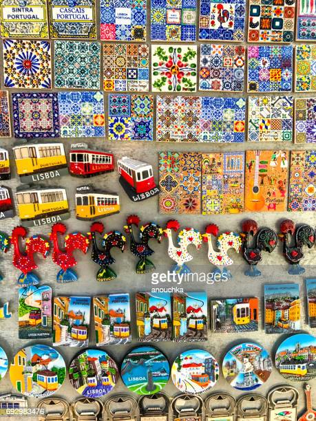 Lisbon gift shop with magnets displayed for sale, Portugal