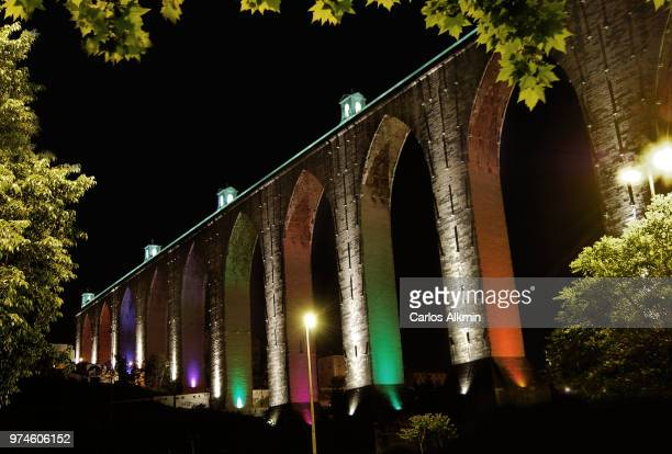 Lisbon historic aqueduct by night