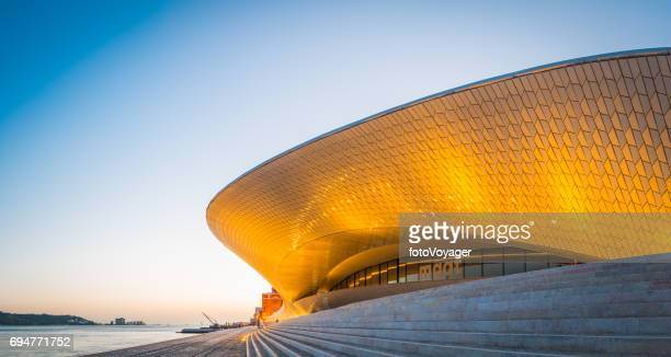 Lisbon MAAT Museum Art Architecture Technology illuminated waterfront panorama Portugal