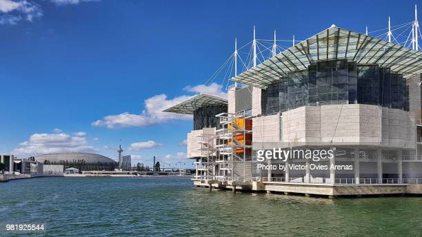 lisbon oceanarium surrounded by the water of river tagus with the altice indoor arena in the background in the parque das naçoes in lisbon, portugal - victor ovies fotografías e imágenes de stock