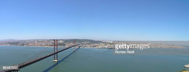 lisbon panorama from the cristo rei statue - statua di cristo re foto e immagini stock
