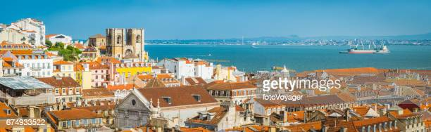 Lisbon panoramic view over Baixa rooftop Se Cathedral Tagus Portugal