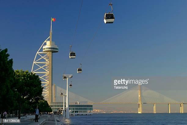 lisbon - elevator bridge stockfoto's en -beelden