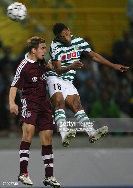 Bayern Munich Phillip Lahm vies with Sporting Lisbon Nani 18 October 2006 during their Champions League group B football match Sporting Lisbon vs FC...