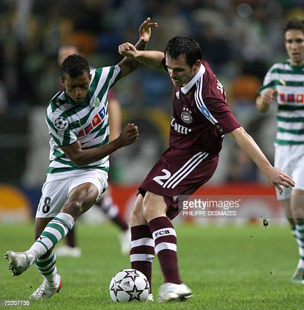 Bayern Munich's French defender Willy Sagnol vies with Sporting Lisbon's midfielder Nani during their UEFA Champions League group B football match 18...