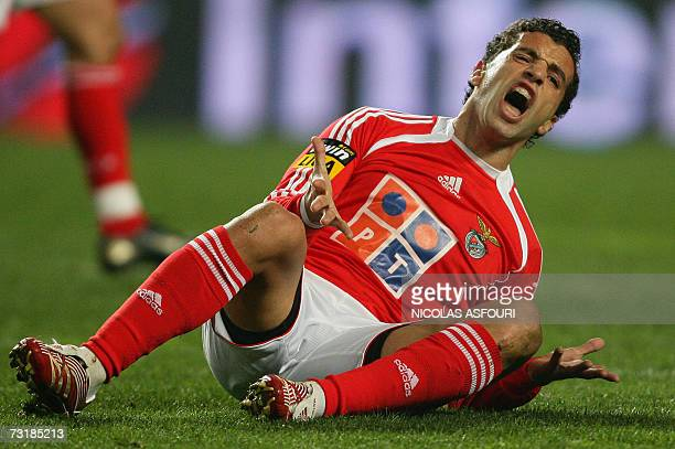Benfica's Simao Sabrosa react after he misses an opportunity to score against Boavista during their Premier League football match at Luz Stadium in...