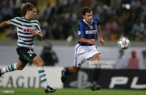 InterMilan's Luis Figo vies with Sporting's Miguel Veloso at the Alvalade stadium in Lisbon 12 September 2006 during the Champions League Groupe B...