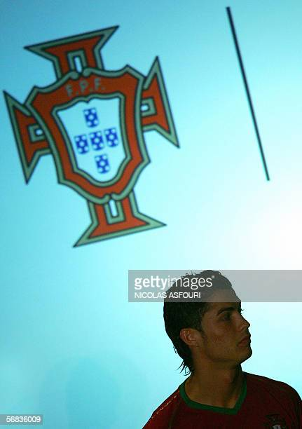 Manchester United's Portuguese striker Cristiano Ronaldo presents the Portuguese football team new uniforms at the Discovery monument in Lisbon 13...