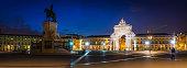 Lisbon Praca do Comercio Augusta Arch illuminated night panorama Portugal