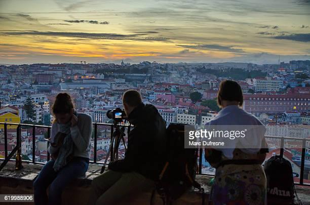 ミラドウロ・ソフィア・デ・メロ・ブレイナー・アンドレセンから見たリスボン - バイシャ ストックフォトと画像