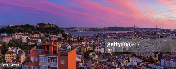 lisbon sunset panorama- portugal - traditionally portuguese stock pictures, royalty-free photos & images