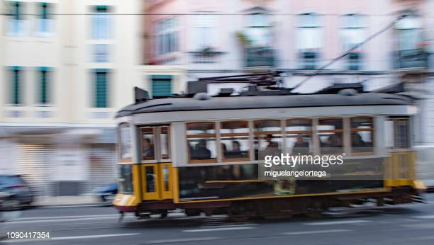 Lisbon tram with panning efect