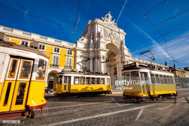 Lisbon trams at Praca do Comercio