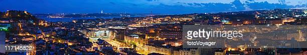 Lisbon vibrant illuminated cityscape super panorama Portugal