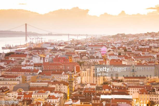 lisbon with tejo river and bridge of april 25th - lisbon stock pictures, royalty-free photos & images