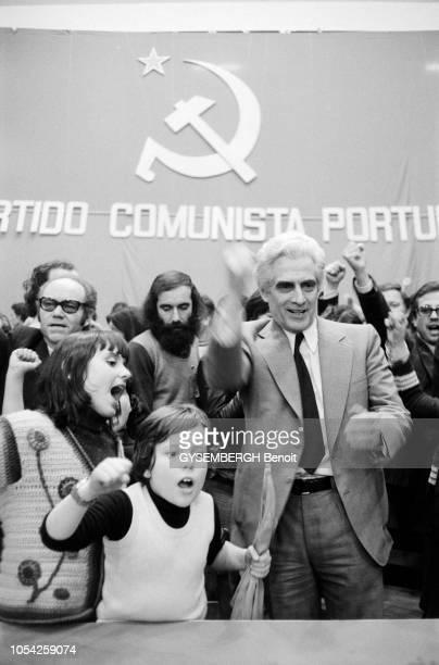 Lisbonne Portugal 27 mars 1975 Meeting du Parti communiste portugais au palais des Déportés de Lisbonne en présence du leader du parti Alvaro CUNHAL...
