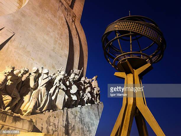 Lisbon's iconic Monument to the Discoveries at night.