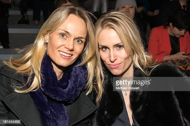 Lise Evans and Carola Jain attends Vivienne Tam during fall 2013 MercedesBenz Fashion Week at The Stage at Lincoln Center on February 10 2013 in New...