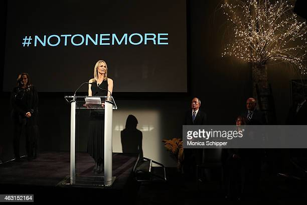 Lise Evans speaks at the Not One More Event at Urban Zen on February 10 2015 in New York City