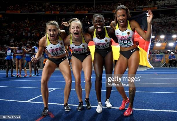 Lise Marie Kwayie, Gina Lueckenkemper, Tatjana Pinto and Rebekka Haase of Germany celebrate after winning the bronze medal in the Women's 4x100...