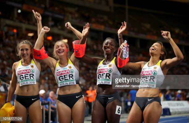 Lise Marie Kwayie Gina Lueckenkemper Tatjana Pinto and Rebekka Haase of Germany celebrate after winning the bronze medal in the Women's 4x100 metres...