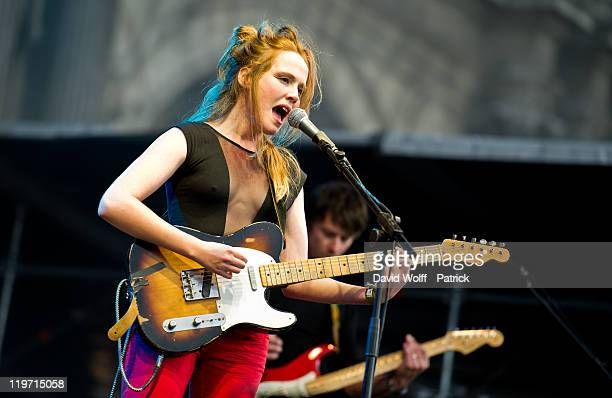 Lise Portelli performs at Festival Fnac Live at Parvis De L'Hotel de Ville on July 23 2011 in Paris France