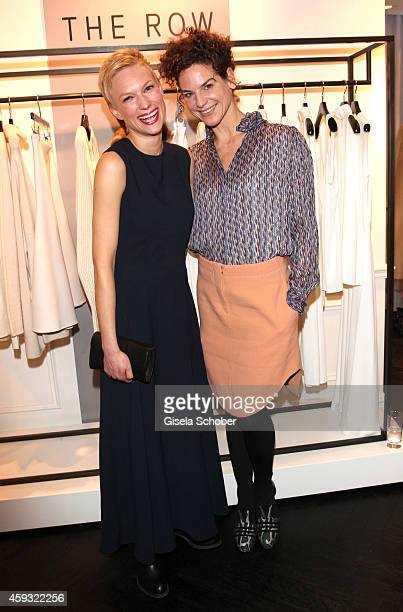 Lise Risom Olsen and Bibiana Beglau pose during MaryKate Olsen and Ashley Olsen present their collection 'The Row' at Marion Heinrich on November 20...