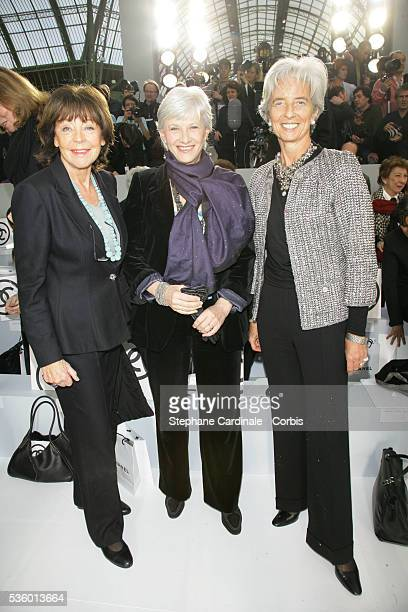 Lise Toubon Francoise De Panafieu and Christine Lagarde at the Chanel Fall/Winter 20072008 collection during Paris Fashion Week