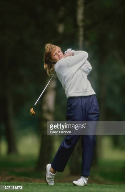Liselotte Neumann of Sweden drives off the tee during the Ladies European Tour Ford Ladies' Classic golf tournament on 2nd May 1987 at the Woburn...