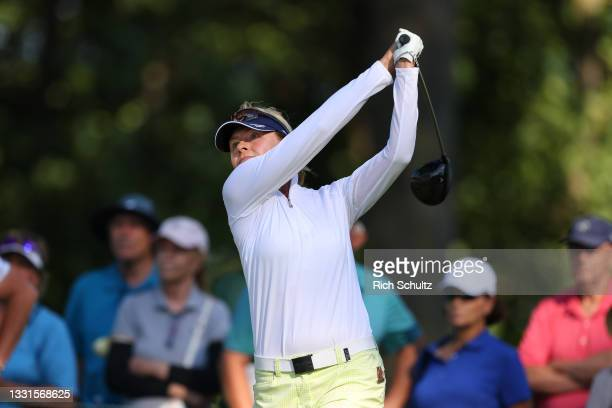 """Liselotte Neumann of Sweden hits her tee shot on the 18th hole during the second round of the U.S. Senior Women""""u2019s Open Championship on July 30,..."""
