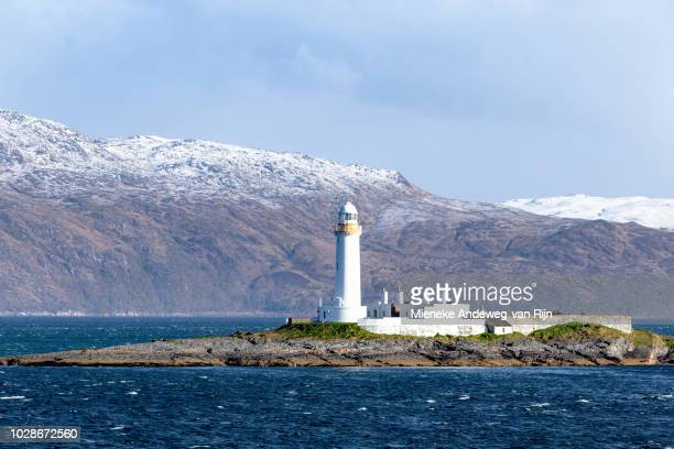 Lismore Lighthouse on Eilean Musdale Islet, in the Firth of Lorne, Inner Hebrides, Scotland, United Kingdom.