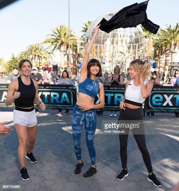 Lissa Bankston Nina Dobrev and Renee Bargh visit 'Extra' at Universal Studios Hollywood on December 15 2017 in Universal City California