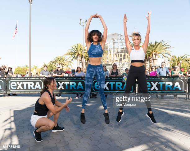 Lissa Bankston Nina Dobrev and Renee Bargh work out together at 'Extra' at Universal Studios Hollywood on December 15 2017 in Universal City...