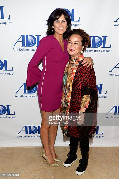 Lissa Solomon and Producer Miky Lee attend the ADL Entertainment Industry Dinner at The Beverly Hilton Hotel on April 14 2016 in Beverly Hills...