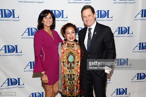 Lissa Solomon Producer Miky Lee and honoree Ken Solomon attend the ADL Entertainment Industry Dinner at The Beverly Hilton Hotel on April 14 2016 in...