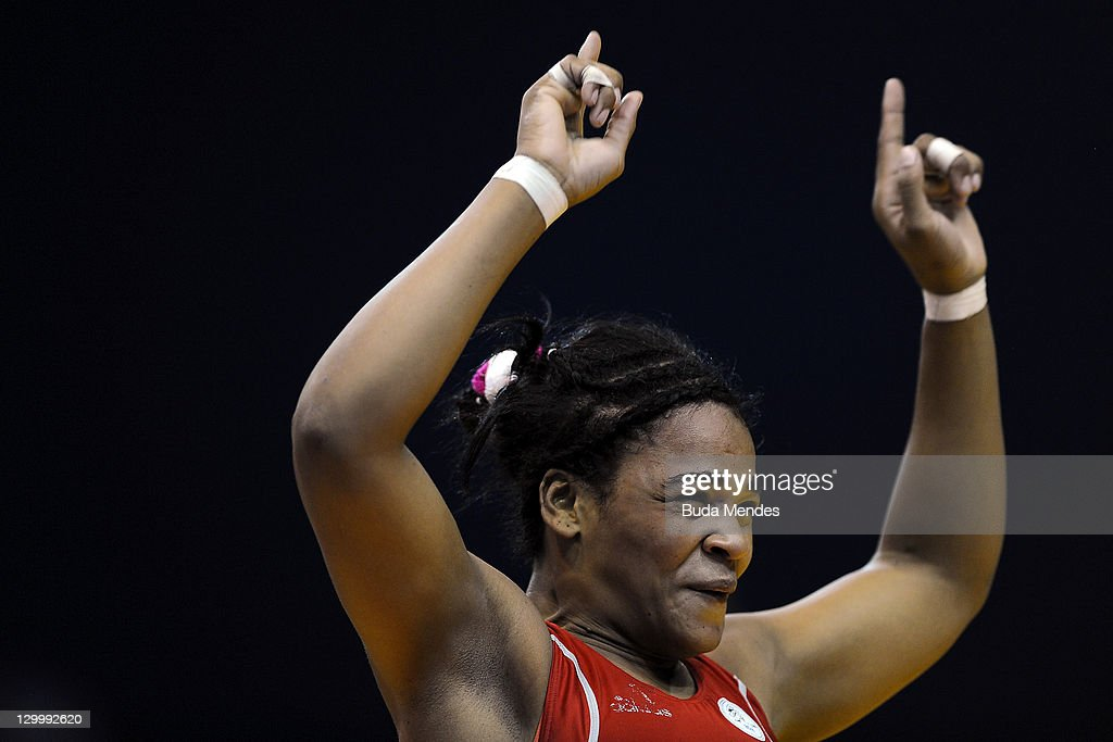 Lisset Echevarria , celebrates a gold medal in the Women's Freestyle 72 kg during the Pan American Games Guadalajara 2011 at CODE Dome on October 22, 2011 in Guadalajara, Mexico.