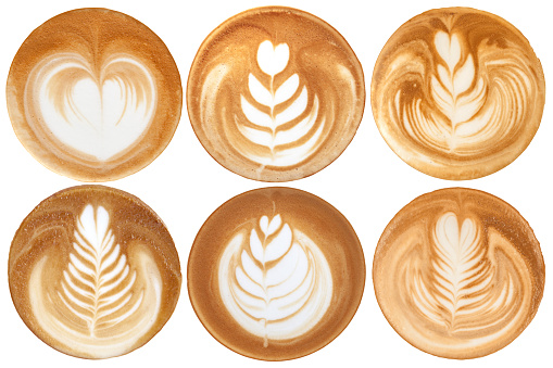 List of latte art shapes on white background isolated 523168118