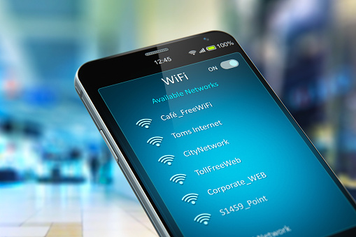 List of WiFi networks on smartphone in the shopping mall 1057838582
