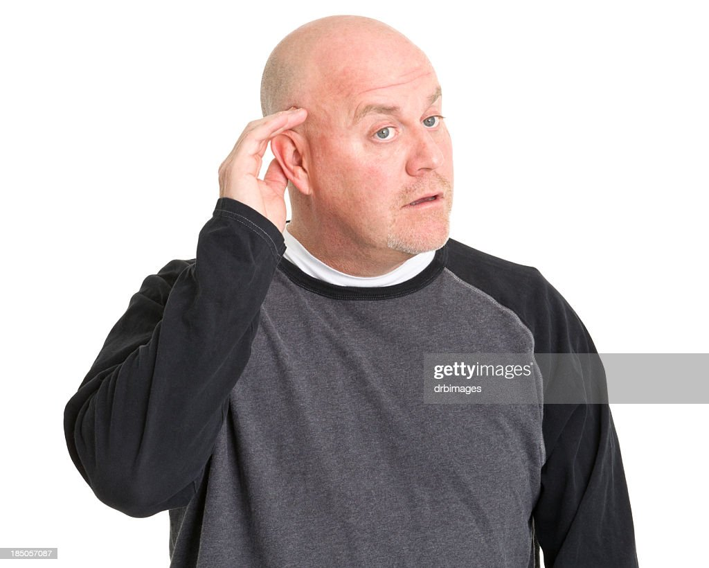 Listening Man With Hand To Ear : Stock Photo