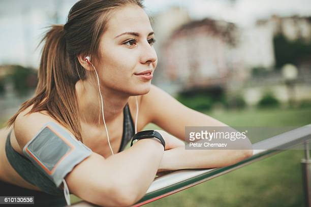 Listening music and resting