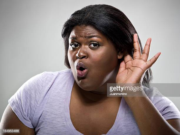 listening - images of fat black women stock photos and pictures
