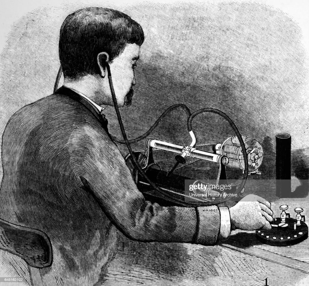 Listening to Charles Sumner Tainter's Graphophone. : News Photo