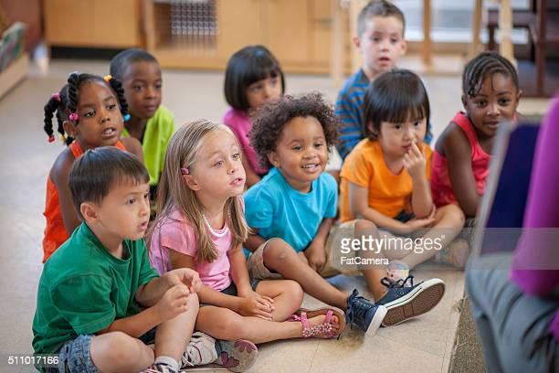 Listening to Their Teacher Read a Story
