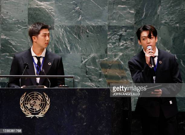 Listens as Jungkook of the South Korean boy band BTS speaks at the SDG Moment event as part of the UN General Assembly 76th session General Debate at...