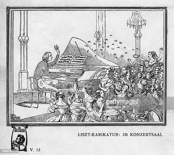 Liszt Franz *2210181131071886 Komponist Pianist Dirigent Schriftsteller Ungarn Karikatur 'Im Konzertsaal' undatiert