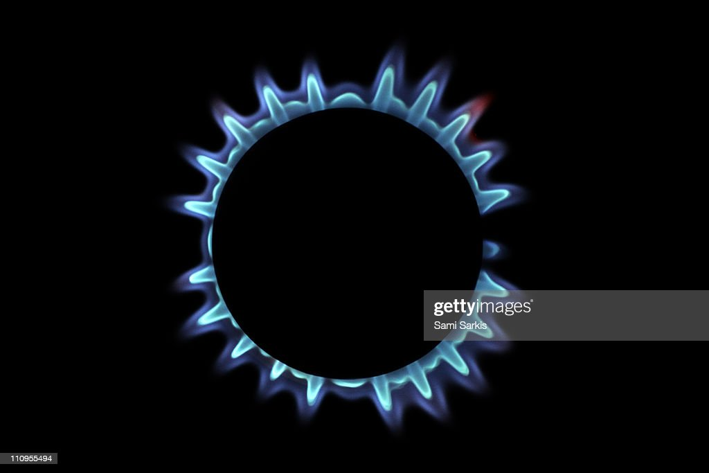 Lit blue gas ring, close-up : Stock Photo
